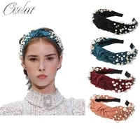 oaoleer women hair accessories luxury big knot full pearl headbands for women girls vintage velvet autumn winter hair bands