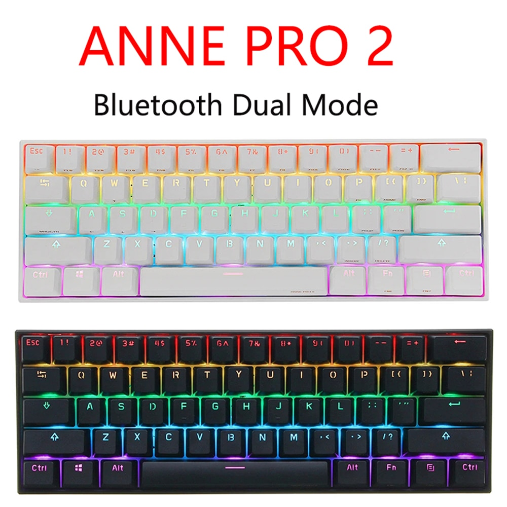 Anne Pro 2 Gaming Mechanical Keyboard Wireless bluetooth Programmable Gamer Keyboard Mini Portable 60% Detachable Cable For WIN