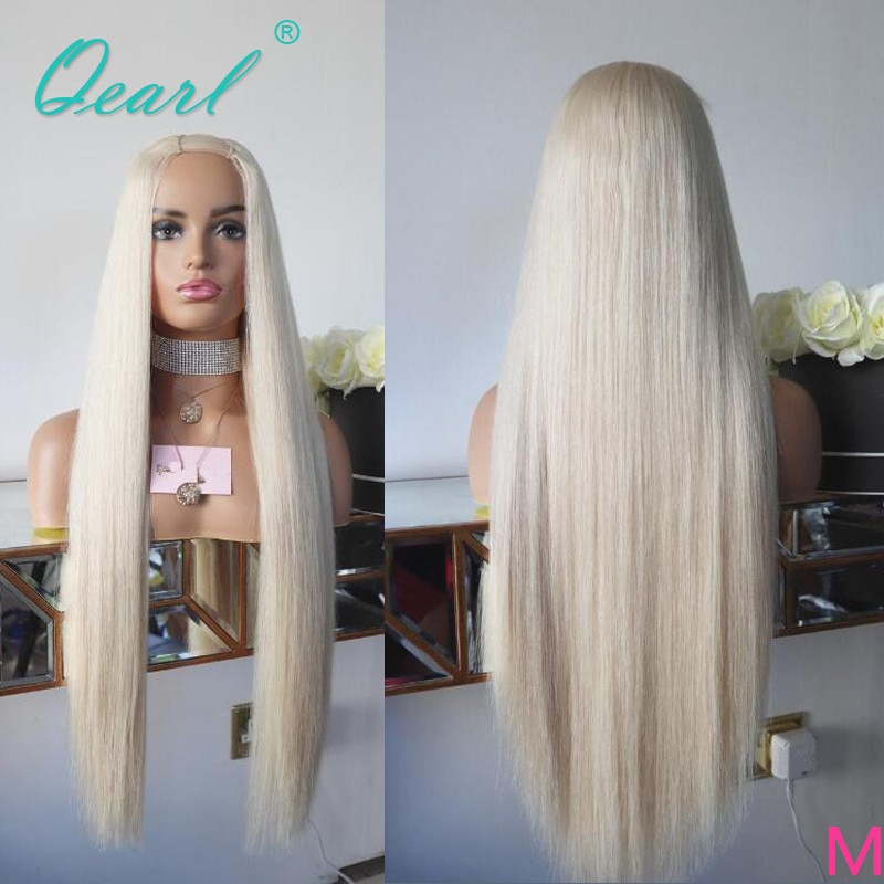 White Platinum Blonde Color U Part Wigs 2x4 Middle Part Straight Human Hair Wig Long Length Malaysian Remy Hair 150% 180% Qearl