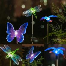 Solar LED Solar Stake Lights Outdoor Dragonfly Butterfly Bird Lawn Lamps Outdoor Garden Lawn Landsca