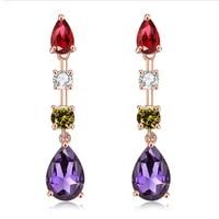 huami crystal jewelry pendant earrings european and american simple long fashion earrings female zircon earrings 2021 trend