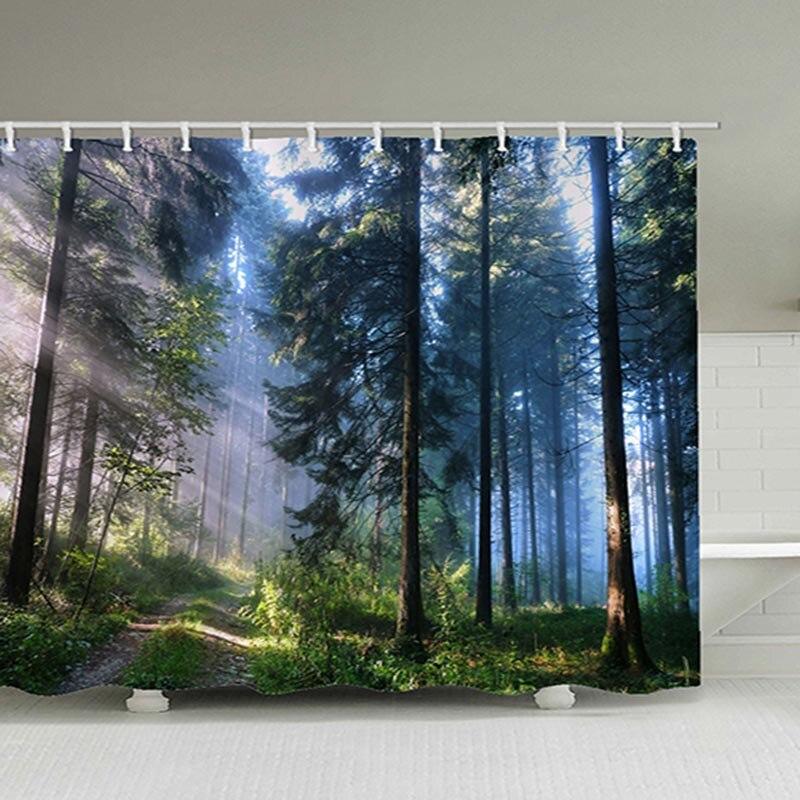 Bathroom Decor The Sun Shining Through The Woods Shower Curtain Landscape 100% Polyester Toilet Curtain For Bath With 12 Hooks