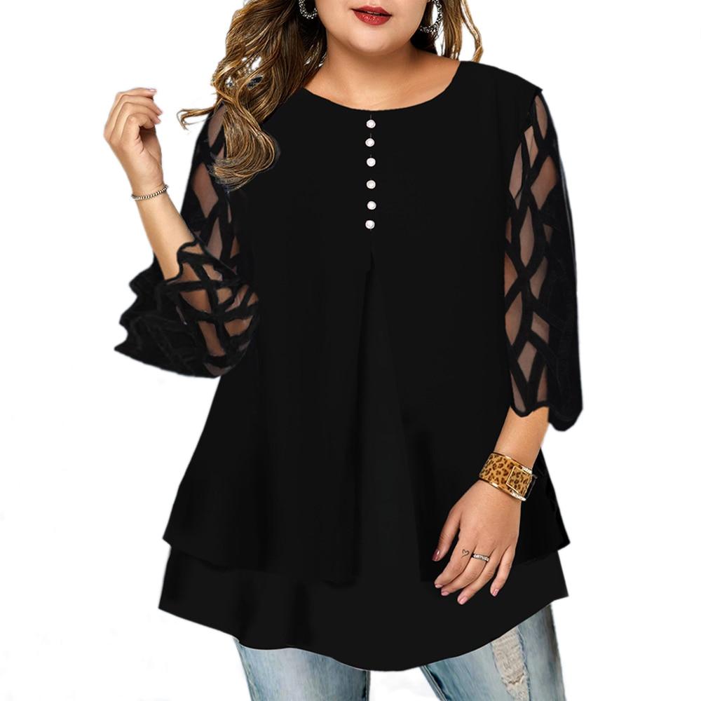 Venta L-6XL de camisetas de talla grande para mujer, camisetas con botones de manga 3/4 para primavera 2020, camisetas de Costura de malla holgadas para mujer, camisa de cuello redondo para mujer D30