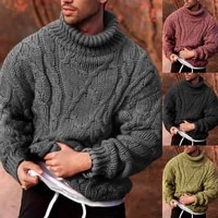 2020 autumn winter mens sweater turtleneck solid cotton sweater knitted warm pullovers jumper for male slim fit knitwear black