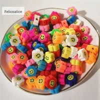40pcslot 10mm smiley face flower polymer clay shape spacer beads for diy handmade jewelry craft accessories