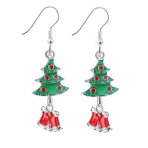 12pcs/lot New Fashion Winter Rhinestone Christmas Bell Christmas Tree Long Earrings For Party Fashion Jewelry