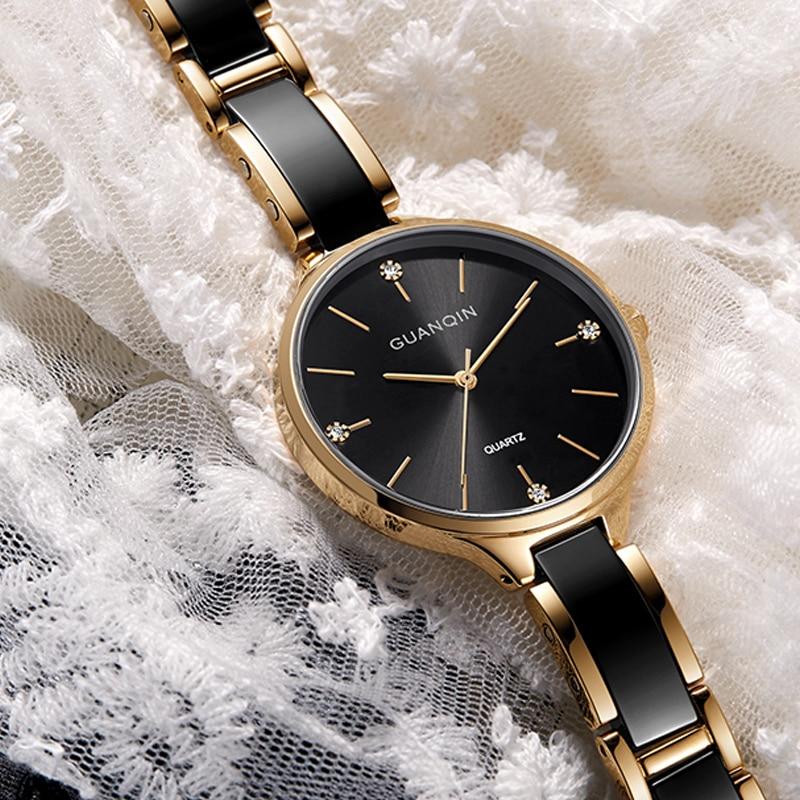 GUANQIN Women Watches Ceramic Dress Small Ladies Watch Waterproof Fashion Gold Quartz Wristwatch relogio feminino dropshipping enlarge