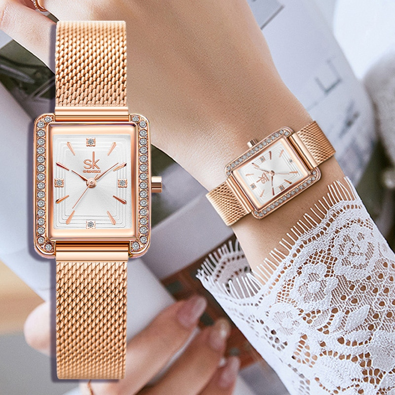 Fashion Rose Gold Women Watches Simple Minimalsim Style Casual Watch for Female Stainless Steel Quality SHENGKE Brand Wristwatch