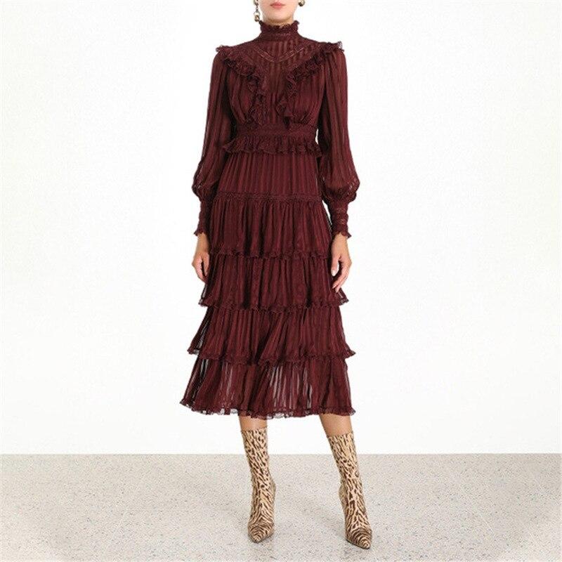 Nueva llegada de primavera Vintage vestido de fiesta con cuello con volantes con adornos de encaje de alta cintura capa pastel vestidos largos vestidos