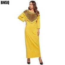 BNSQ moyen-orient Abaya robe jaune tricot couture fausse peluche manches longues décontracté Aftan pakistanais robes M-4XL