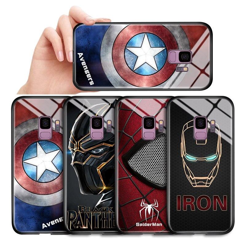 For Samsung Galaxy A10 A20 A30 A10s A20s A30s A50 A60 A70 A70S A80 A90 Marvel Avengers Superhero Case Glass Back Casing Cover