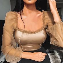 Mesh Square Collar Women T shirt Casual Sexy Long Sleeve Crop Top Solid Color Slim Top Modern Lady Tshirt Top blusas femininas