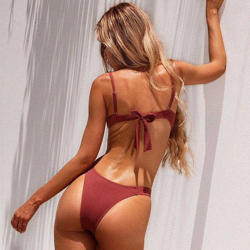 2021 Sexy Swimsuit Women Bikini Push-up Padded Bra Bandage Bikini Set Triangle Swimwear Bathing Suit Ribbed Biquini Female 2021 sexy women high waist bikini swimsuit swimwear female bandeau thong brazilian biquini bikini set bathing beach suit bather