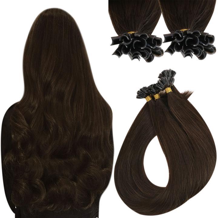 VeSunny U تلميح الانصهار ملحقات prebond يميل وصلات شعر طبيعية تغطية كاملة الأظافر نصائح شعر الإنسان