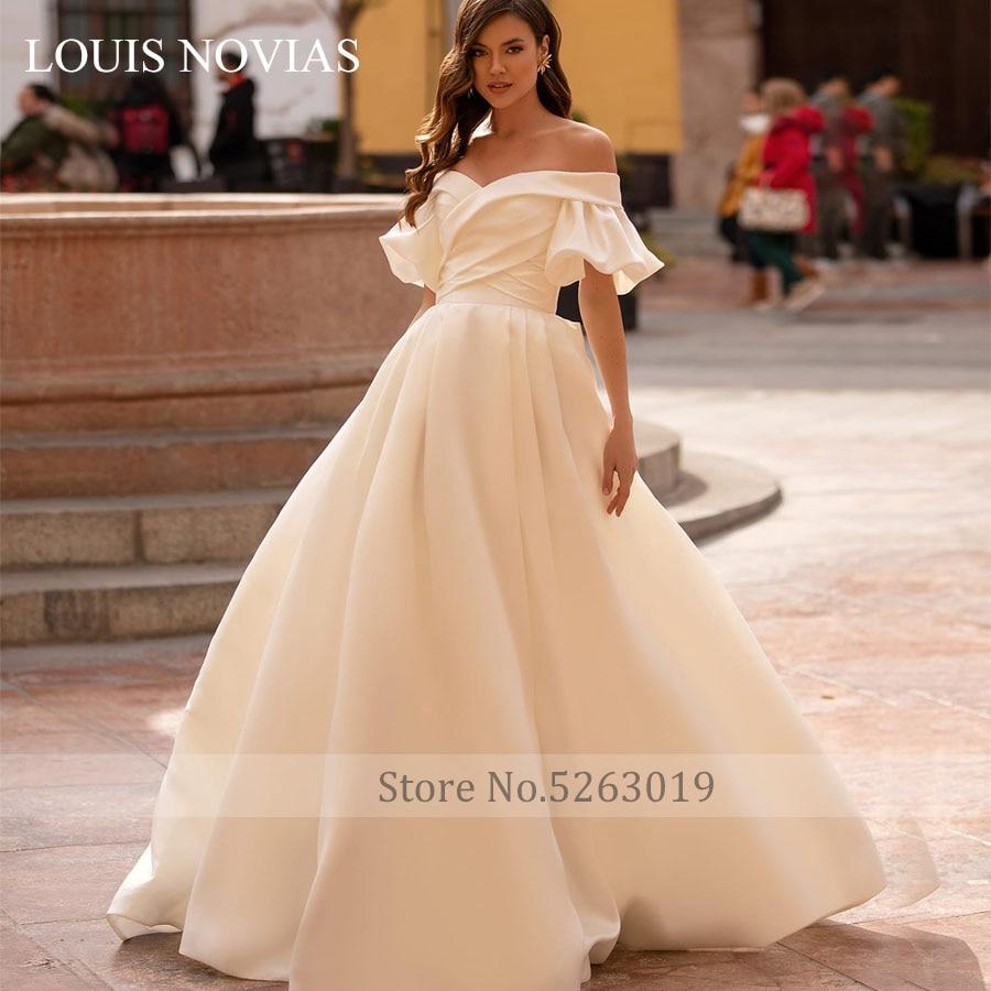 Louis Novias-فستان زفاف بسيط وعالي الجودة مع أربطة ، فستان زفاف أبيض Lvory ، عرض خاص