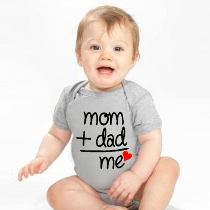 Infant Baby Funny Mom Dad Me Letters Bodysuit Short Sleeves Soft Cotton One-Piece Lap Shoulder Rompe