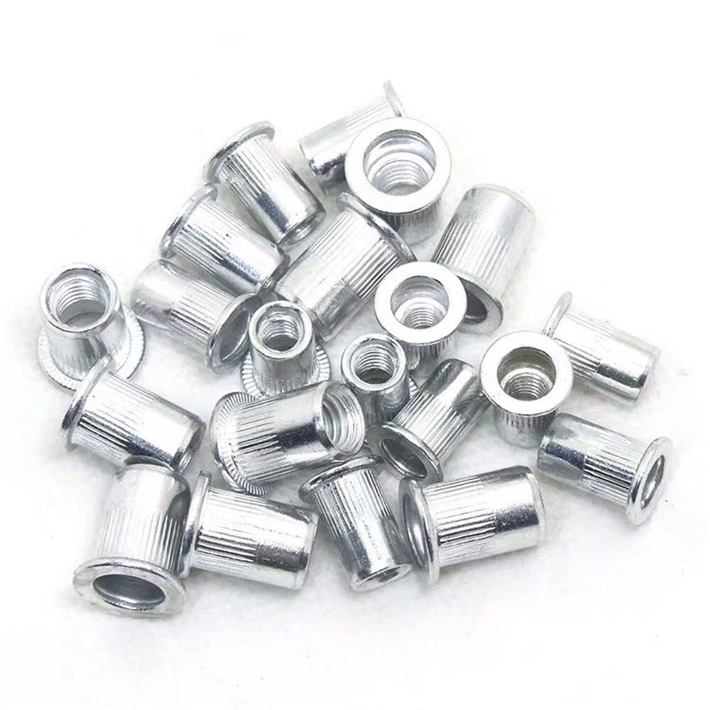 New Aluminum Rivet Nut Flat Head Stripe Knurled Riveting Broaching  Alloy Rivnut Nutsert Cap