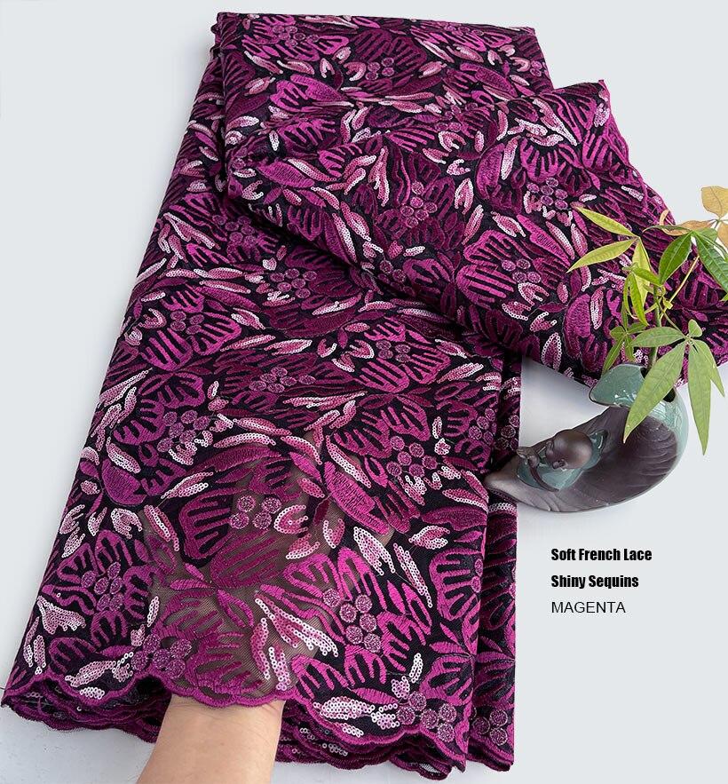 5 ياردة أنيق مطرز الدانتيل الفرنسي الترتر شبكة تول صافي النسيج أنيقة غير رسمية ملابس عرضية الخياطة النيجيري الملابس