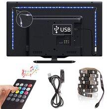 Musique 0.5M 1M 2M 3M 4M 5M lumière de bande LED usb rvb 5050 DC5V ruban Flexible diode LED bande TV éclairage de fond télécommande
