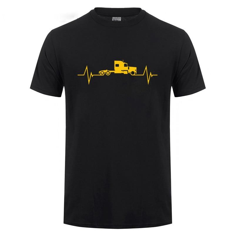 Camiseta divertida del latido del corazón del camión regalo de cumpleaños regalo del Día del Padre para los hombres camiseta del algodón del camionero del papá del marido del camionero
