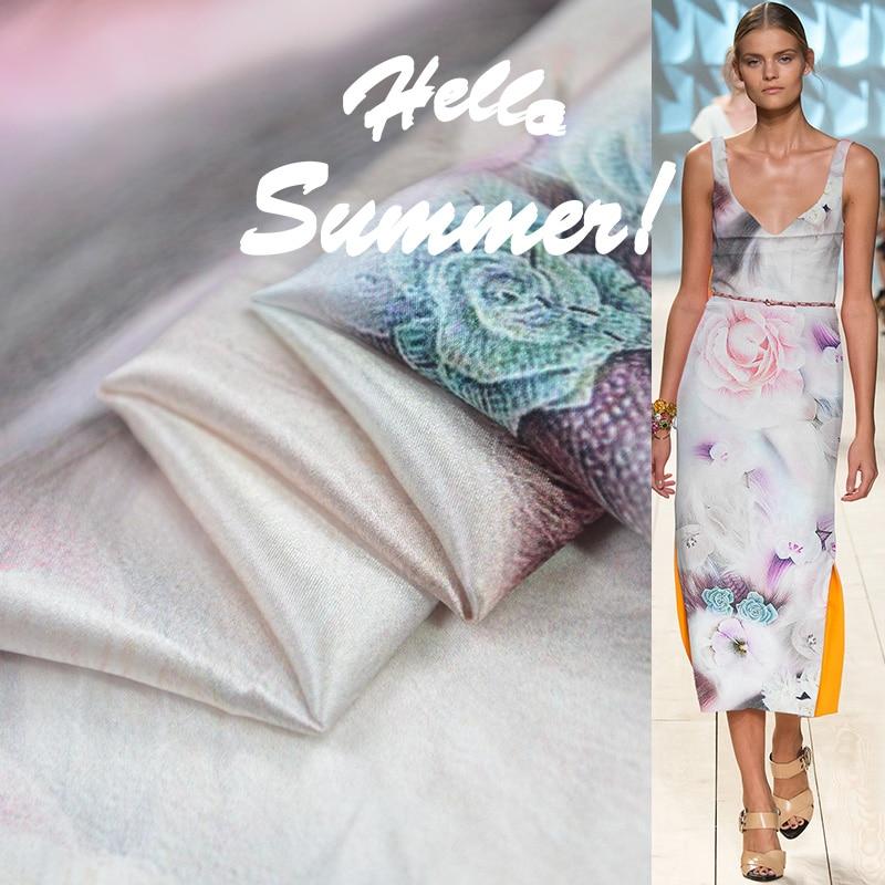 Seda real 140cm largura 14 momme 100% marca de seda branco rosa impresso crepe cetim tecido liso vestido feminino costura diy frete grátis