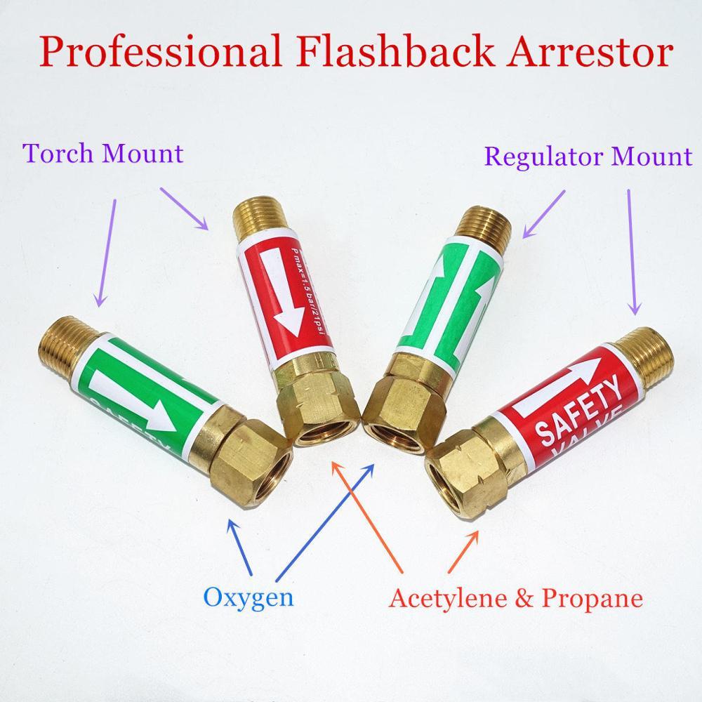 "Flame Buster Welding Cutting Oxygen Fuel Acetylene Propane Natural Gas 9/16"" 3/8"" M16 Torch Regulator Flashback Arrestor"