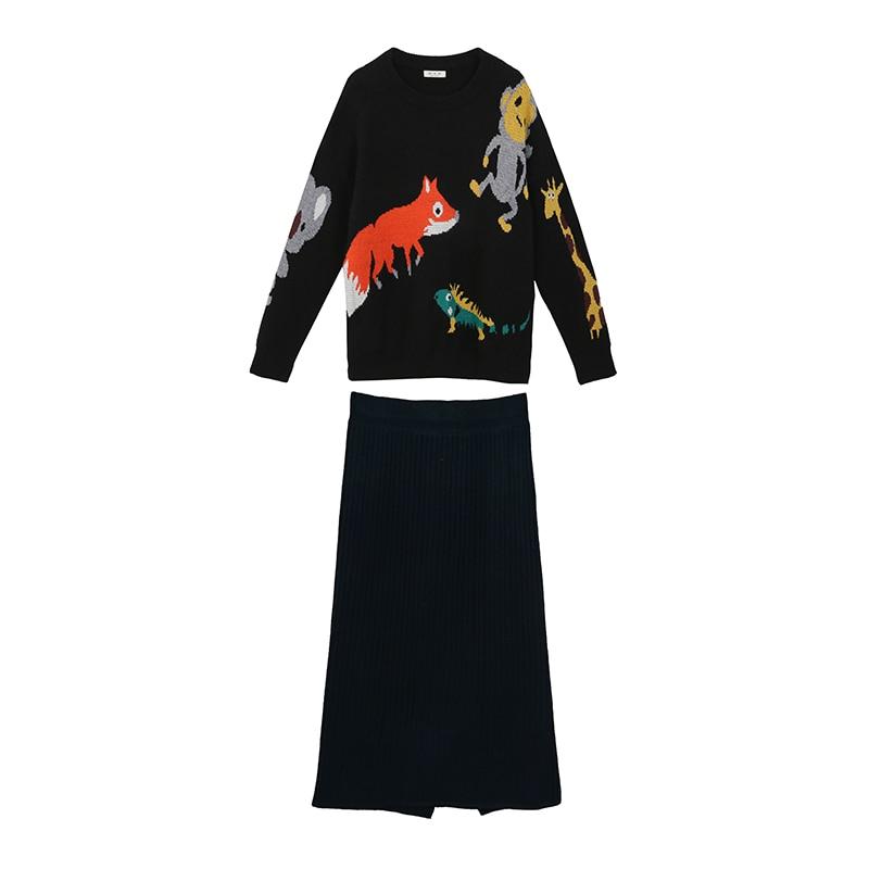 Autumn Winter Knitted Suit Women Cartoon Print O-Neck Sweater + Knitting Skirt Two Piece Set Thick Warm Streetwear 2021