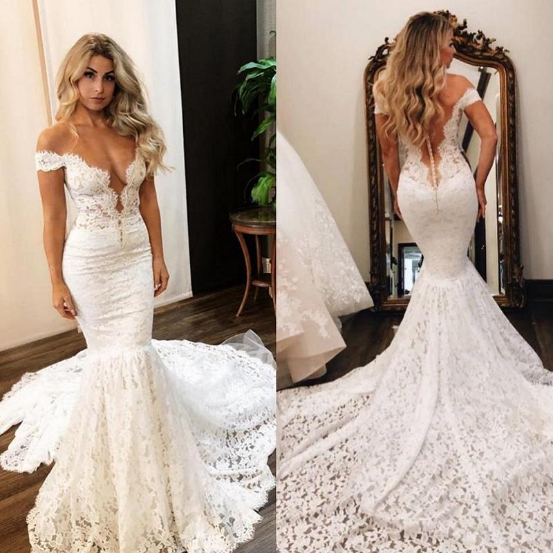 Sexy Mermaid Lace Wedding Dresses Long 2020 vestido de novia Off The Shoulder V Neck Wedding Gowns Sweep Train Bride Dress
