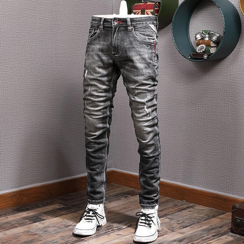 Модные мужские джинсы в итальянском стиле ретро Черные Серые эластичные узкие рваные джинсы мужские винтажные дизайнерские потертые повсе...