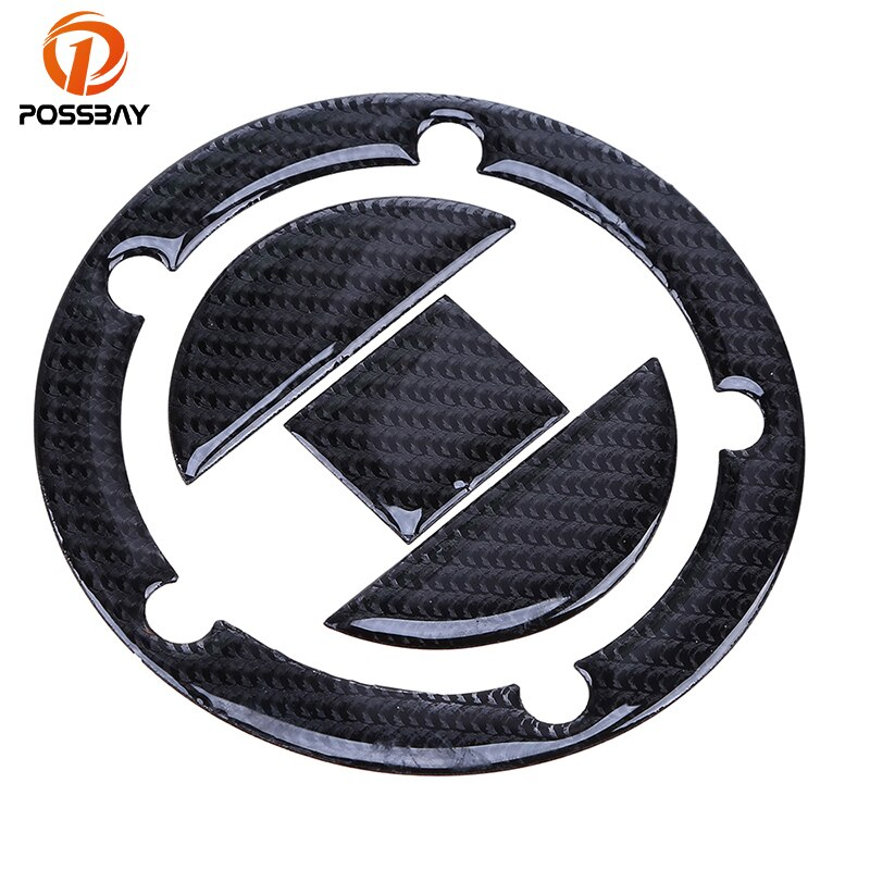 POSSBAY Carbon Fiber Oil Tank Cap Motorcycle Fuel Gas Tank Cap Covers Pad Stickers for Suzuki GSXR 600 750 1000 1300 5/8 Holes