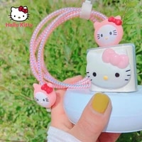 hello kitty is suitable for apple 12 20w fast charging plug ipad2020 charging data cable protective cover