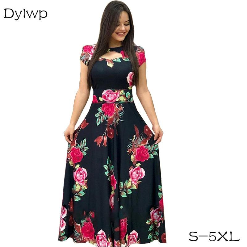 Elegant Women  A-Line Long Party Dress Flower Print Tunic Dresses 2020 Spring Lady Casual Bohemian Maxi Dress Plus Size S-5XL