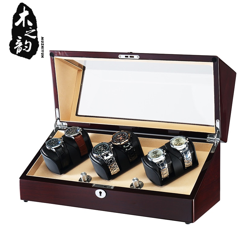 6 bobinadoras de reloj de madera alto brillo PE acabado japonés silencioso Motor acrílico ventana almacenamiento caja de relojes con cubierta de luz LED