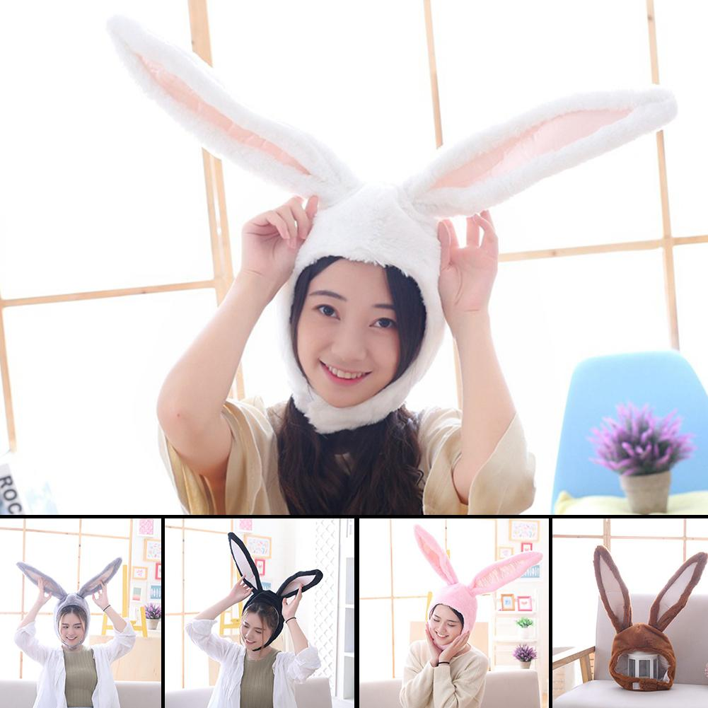 Cute Girls Hat Plush Rabbit Bunny Ears Hat Earflap Cap Head Warmer Photo Supplies Hat with earflaps