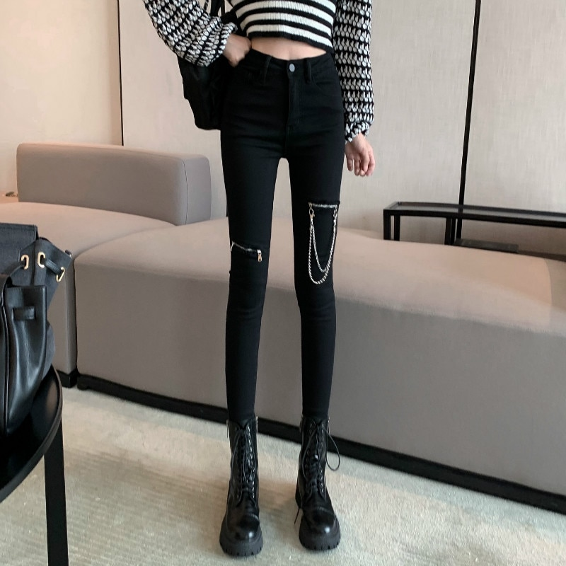 Women's Spring Korean Kong Style Metal Zipper Stretch Slimming High All-Match Black Jeans Skinny Pan