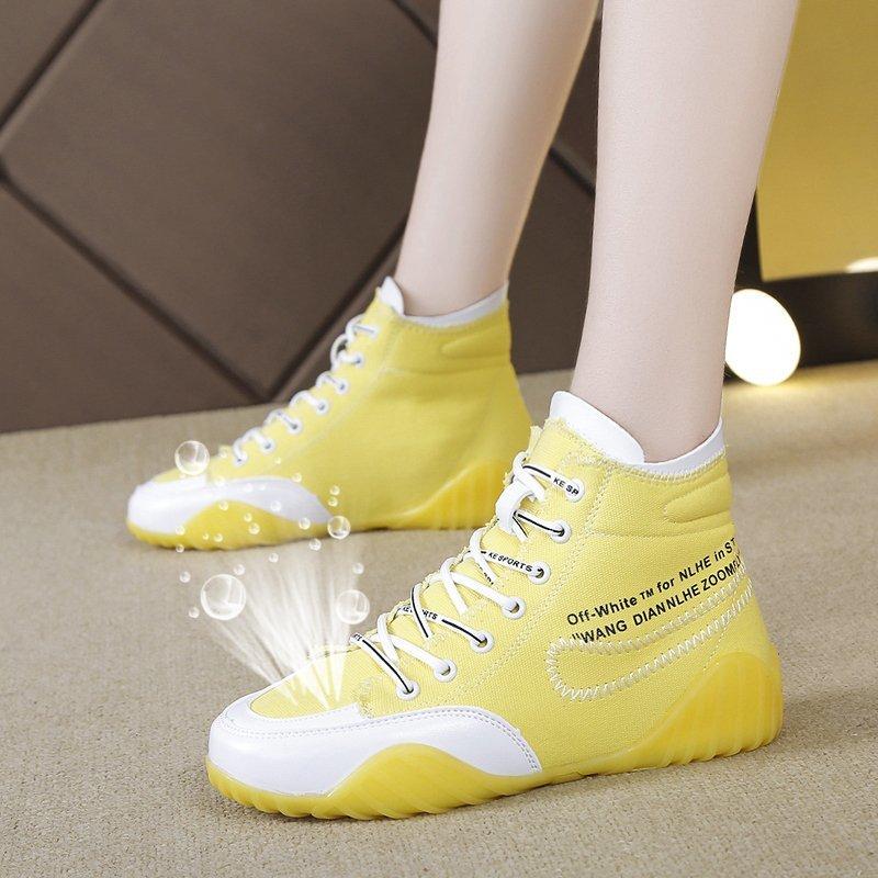 Кеды женские с вулканизированной подошвой, Классические высокие кеды, Повседневная Молодежная обувь на шнуровке, Осень-зима