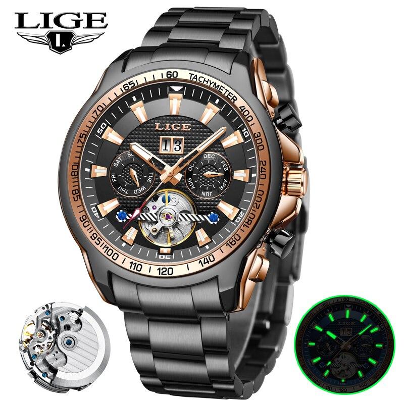 LIGE-ساعة رجالية ميكانيكية ، ستانلس ستيل ، مقاومة للماء ، أوتوماتيكية ، أعمال فاخرة