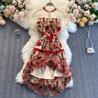summer elegant heavy embroidery flowers vintage dress women o neck mesh short sleeve waist ruffled party midi dress vestidos