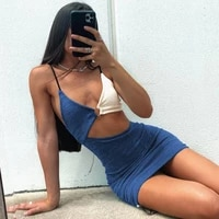 spring and summer new color matching sling hollow pleated mini strap dress casual streetwear women fashion clothes
