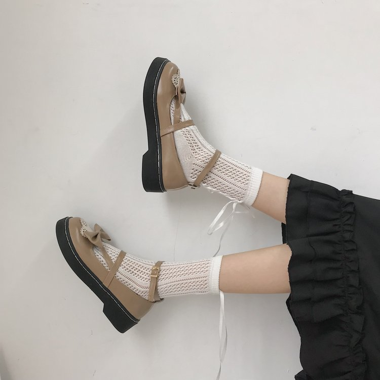 College japanese sweet lolita shoes cute bowknot hollow kawaii shoes round head student jk women leather shoes loli cos
