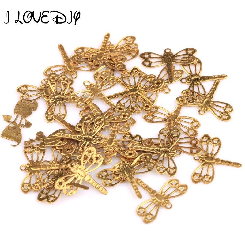 Venta al por mayor 100 Uds colgante libélula de pedrería de oro hallazgos 12x15mm para la fabricación de joyas