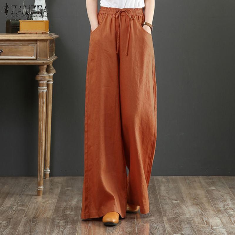 Pantalones de pierna ancha ZANZEA de otoño elegantes para mujer, pantalones acampanados sólidos de cintura alta, pantalones largos sueltos casuales, ropa de calle pantalón Floral