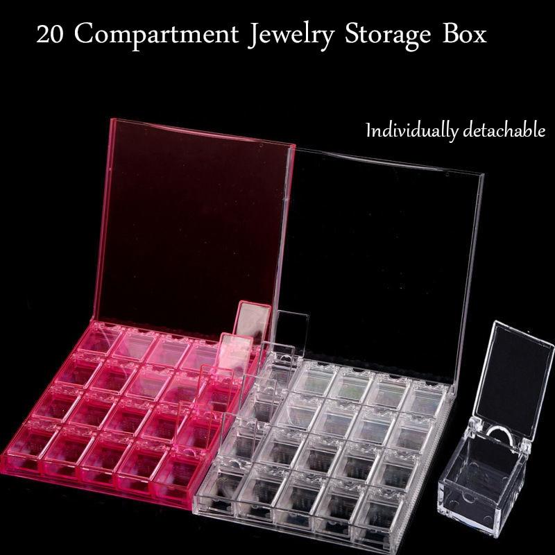 Detachable Acrylic Nail Art Rhinestone Bead Storage Box Slot Transparent Plastic Storage Box Diamond Painting Accessories Tool