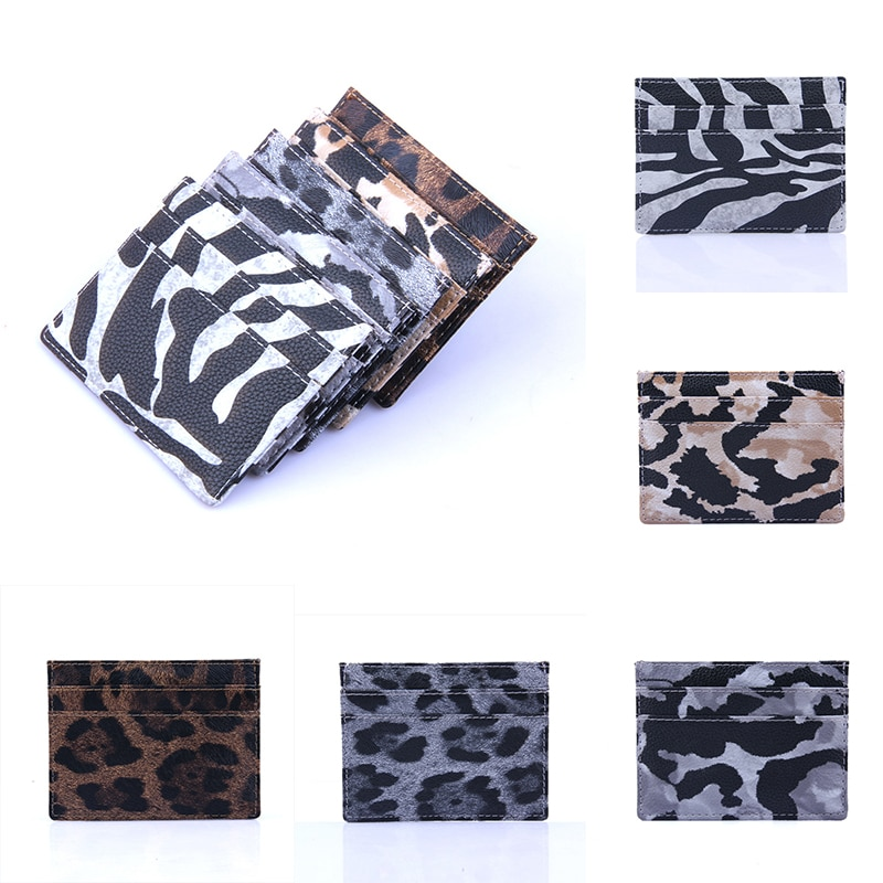 New Arrivals Fashion Small Mini Leopard Pattern PU Leather Bank Business Id Card Holder Wallet Case For Men Women
