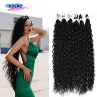 synthetic hair bundles afro curls kinky curly weaving braid extension 300g9pcs full head 26 32 blond brown rylai ins anjo plus