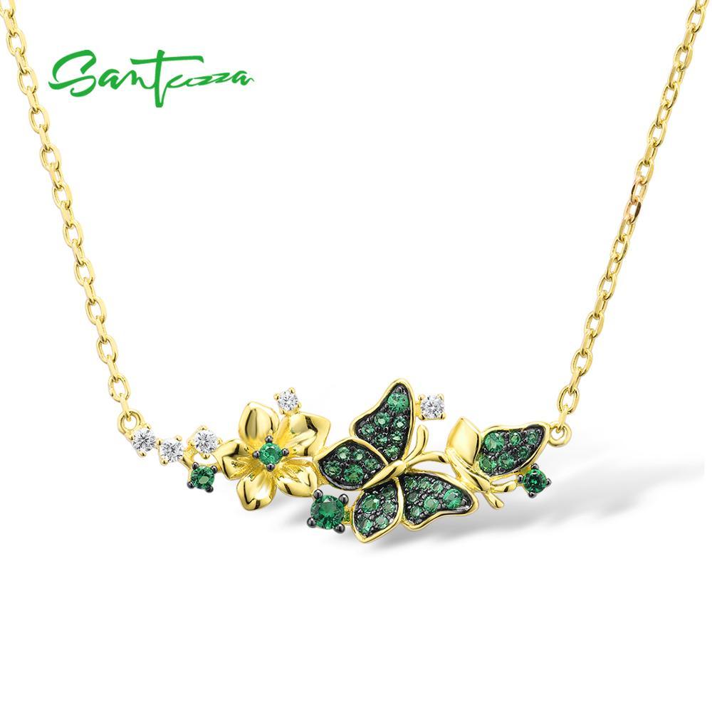 SANTUZZA قلادة فضية للمرأة حقيقية 925 فضة الذهب اللون الأنيق الأخضر الفراشات قلادة حفلة غرامة مجوهرات
