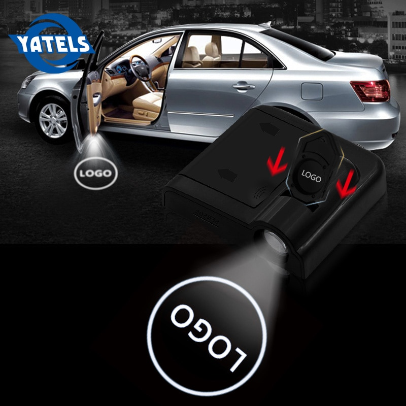 2 sztuk bezprzewodowy projektor laserowy Led drzwi samochodu podświetlenie Logo Ghost Shadow dla AMG Sline Opel Citroen Hyundai Kia Honda Renault
