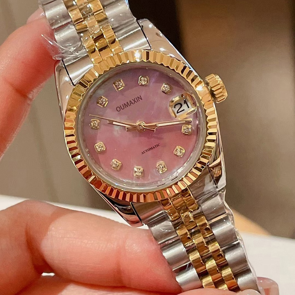 2021 new luxury brand 31mm ladies watch automatic mechanical sapphire 316L stainless steel pink dial ladies clock