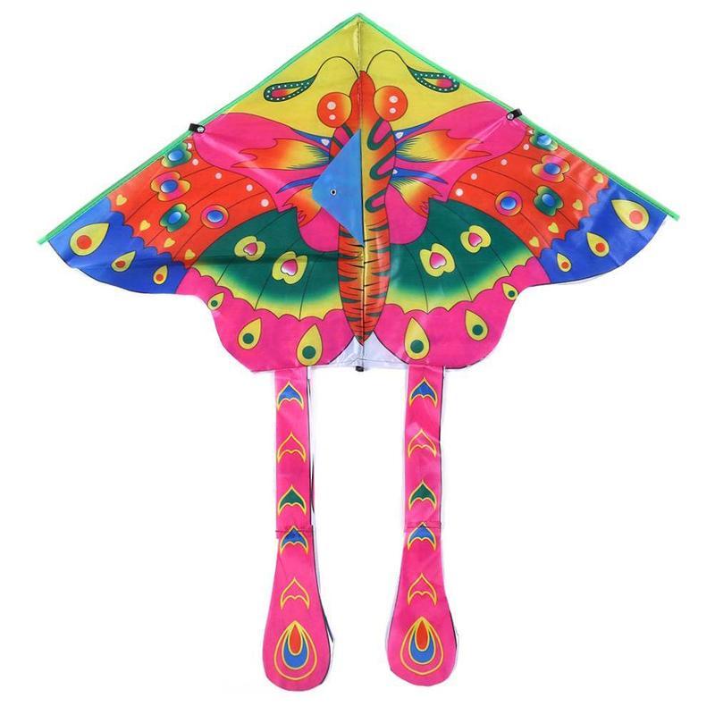 Cometa de mariposa para niños diseño de insecto de dibujos animados plegable deportes divertidos al aire libre niños volando cometas con 30m línea 85*95cm