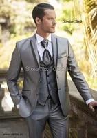 arrive shiny new grey men suits 3 pieces peaked lapel groom tuxedos men wedding suits groomsman jacketpantsvesttie